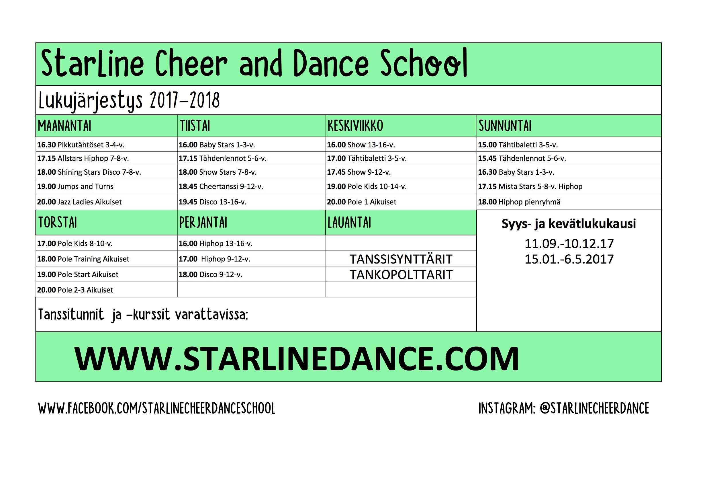 Lukujärjestys_Starline
