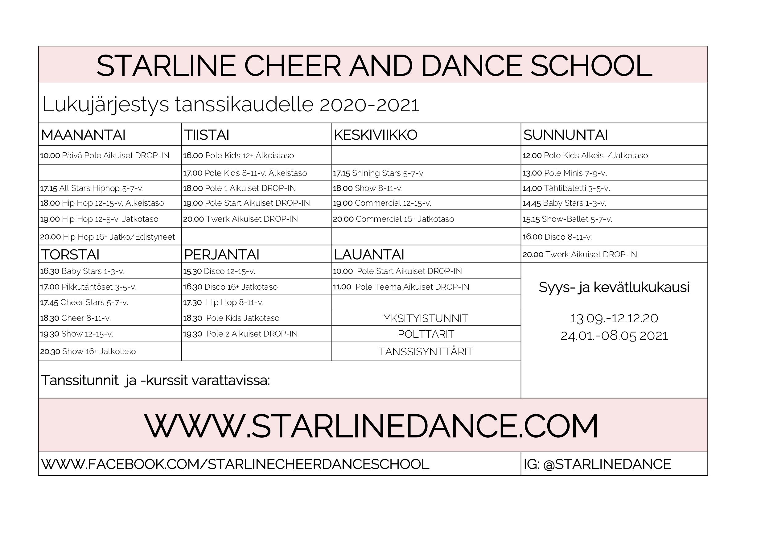 Lukujärjestys_Starline2021